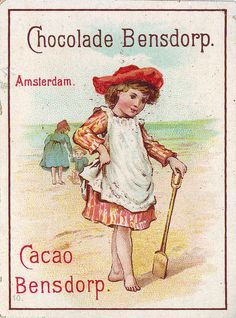 ♥chocolade bensdorp - girl in bare feet on beach  with wooden spade  -