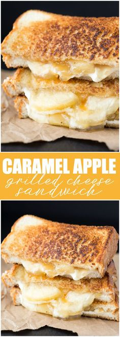 Caramel Apple Grilled Cheese Sandwich - One of the most delicious dessert grilled cheese sandwiches you'll ever have! #dessertfoodrecipes