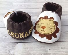 Lion faux leather baby shoes personalized with by PiccoleImpronte