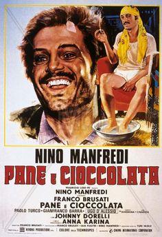 """""""Pane e cioccolata"""" (1974), a detta di molti, il miglior film della carriera di Nino Manfredi. Elogio dell'italiano all'estero con tante scene entrate nell'immaginario popolare. Manfredi si supera, in un'interpretazione attenta e precisa e vince con merito il David di donatello come miglior attore protagonista."""