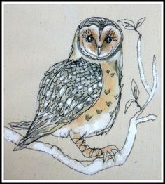 'Loopy's Owl' by Lynne White aka Loopy Linnet Free Motion Embroidery, Free Machine Embroidery, Free Motion Quilting, Hand Embroidery, Thread Painting, Thread Art, Fabric Painting, Bird Applique, Wool Applique