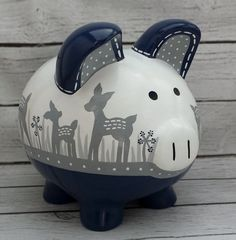 Personalized Piggy Bank Navy and grey gray Deer by Alphadorable