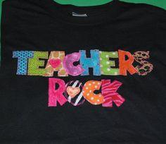 Teachers Rock Appliqued Bling Shirt by sewingsassyinTX on Etsy, $25.00