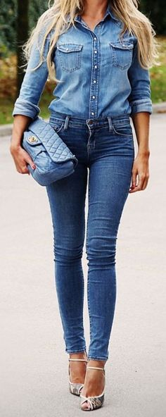 #bs0811 #street #style #fashion #inspiration |Denim On Denim