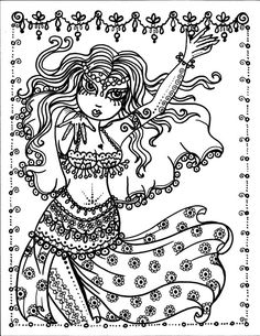 Belly Dancer coloring pages Digital files Instant Download 5 pages