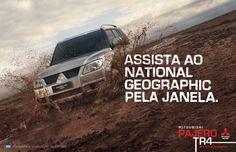 Watch National Geographic through the window. Mitsubishi Pajero, 4x4, Desgin, Honda Cars, Best Ads, Ad Art, Marketing, Advertising Campaign, Copywriting