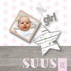 Geboortekaartje Girl Stars&Foto