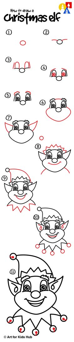 How to draw a Christmas elf!