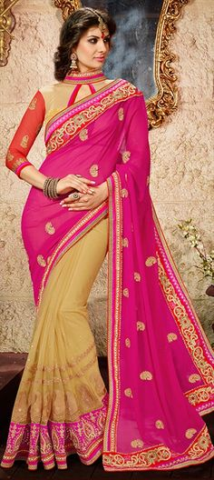 164586 Beige and Brown, Pink and Majenta  color family Embroidered Sarees, Party Wear Sarees in Georgette, Net fabric with Lace, Machine Embroidery, Stone, Thread, Zari work   with matching unstitched blouse.