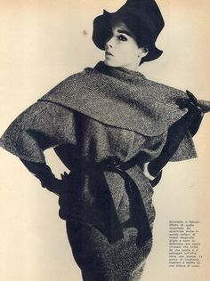 Simonetta    Model Sondra Peterson is wearing a creation by Simonetta.  Italian Vogue,September 1962.