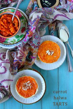 Carrot Halwa Tarts {With Vanilla Orange Custard} Indian Desserts, Indian Food Recipes, Ethnic Recipes, Mini Tart Pans, Crockpot Recipes, Healthy Recipes, Yummy Recipes, Custard Tart, Shortcrust Pastry