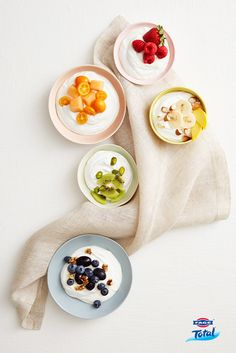 A rainbow of deliciousness. FAGE Total Greek strained yoghurt with our favourite fruits.