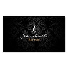 Stylish Dark Damask Hair Stylist Business Card. I love this design! It is available for customization or ready to buy as is. All you need is to add your business info to this template then place the order. It will ship within 24 hours. Just click the image to make your own!