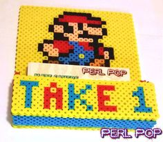 Mario themed magnet business card holder.
