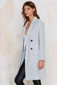 J.O.A. ice blue wool coat