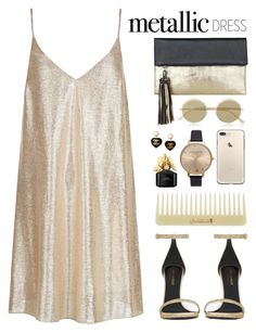 """Untitled #134"" by imelda-marcella-chandra ❤ liked on Polyvore featuring BeckSöndergaard, New Look, Chanel, Olivia Burton, Marc Jacobs, Le Specs, Yves Saint Laurent and metallicdress"