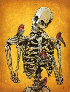 Day of the Dead Artist David Lozeau, Birds of a Feather, David Lozeau Dia de los Muertos Art - 1