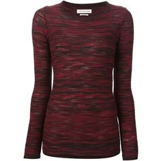 ISABEL MARANT knit sweater ($280) ❤ liked on Polyvore featuring tops, sweaters, shirts, long sleeves, blusas, slim fit long sleeve shirts, burgundy shirt, burgundy sweater, ribbed knit sweater and ribbed sweater