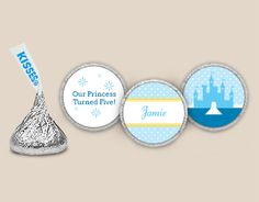 Blue Fairytale Stickers - KISSES Candy: Her Name in Royal Style with a Castle All In Blue Front