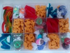 Bait/Tackle box with ''Sealife'' candy: goldfish, gummi sharks/worms, salt water taffy, lifesavers , swedish fish.