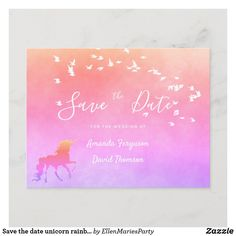 Save the date unicorn rainbow violet purple pink announcement postcard