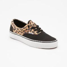 Leopard and Black Canvas Print Vans shoes
