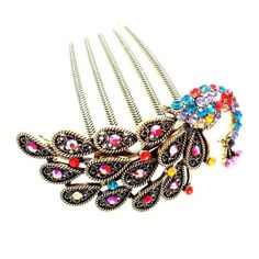 Retro peacock inserted comb, alloy rhinestones hair comb *** More info could be found at the image url.
