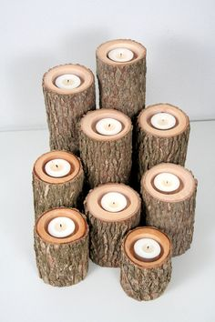 Tree Branch Candle Holders I- Rustic Wood Candle Holders, Tree Slice, Wooden Candle Holders Objet Deco Design, Log Home Decorating, Decorating Ideas, Decor Ideas, Craft Ideas, Wooden Candle Holders, Trendy Home, Rustic Interiors, Tea Light Holder