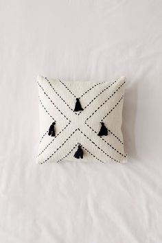 Shop Nora Stitched Tassel Throw Pillow at Urban Outfitters today. Diy Throw Pillows, Fall Pillows, Boho Pillows, Decorative Pillows, Diy Throws, Black Throw Pillows, Burlap Pillows, Cotton Throws, Hand Embroidery