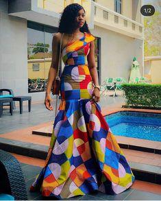 African wax African print Ankara mermaid fishtail dress at Diyanu Unique Ankara Styles, Ankara Long Gown Styles, Ankara Gowns, Ankara Dress, African Attire, African Wear, African Women, African Dress, African Style