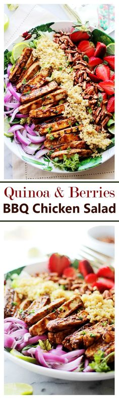 Quinoa and Berries Barbecue Chicken Salad - Crisp, fresh and flavorful Barbecue Chicken Salad tossed with berries, nuts and delicious quinoa. Get the recipe on diethood.com | #FeedYourBeast