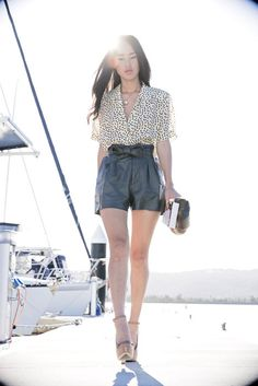 Nicole Warne in leopard print and black. #yachtdreaming