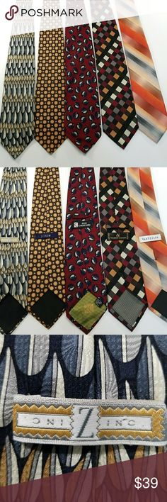 Lot of 5 men's silk ties All 5 ties are 100% silk and are stain free , no rips and Left to right... first one is a bluish, green, gold tone tie, 2nd is brown with burnt orange/yellow circles, 3rd has red, blue, silver tones. 4th is multiple colors of bugundy,wine, gold,silver, black 5th multiple orange hues, with silver and peach colors.  All come from smoke free home. I have other ties for sale  Check out others in my closet and click the bundle:)) Valerio Garati Accessories Ties