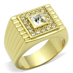 14K Yellow Gold Plated Mens Square Ring Clear Crystal