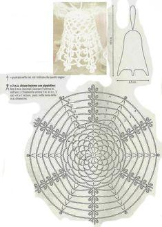 DIY Handmade: Crochet bells - 19 patterns and schemes Crochet Christmas Ornaments, Christmas Knitting, Christmas Bells, Christmas Crafts, Crochet Angels, Crochet Stars, Crochet Snowflakes, Crochet Diy, Thread Crochet