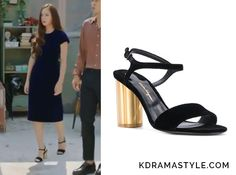 Bride of the Water God Episode Krystal's Black Sandals with Gold Heels - KdramaStyle Suede Sandals, Black Sandals, Bride Of The Water God, Krystal Jung, Gold Heels, Korean Outfits, Wearing Black, Fashion Outfits, Womens Fashion