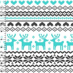 Turquoise Charcoal FairIsle Reindeer Pattern on White Cotton Jersey Blend Knit Fabric