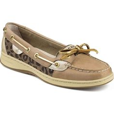 Sperry Women's Angelfish Leopard Jaquard Linen/Leopard Oxford Shoes ($90) ❤ liked on Polyvore featuring shoes, loafers, sperry top-sider shoes, deck shoes, wingtip shoes, leopard print boat shoes and top sider shoes