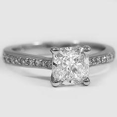 Platinum Petite Tapered Pavé  Diamond Trellis Ring // Set with a 2.00 Carat, Cushion, Ideal Cut, H Color, SI1 Clarity Diamond #BrilliantEarth