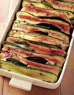 Tian zucchini with ham and Comté for 4 people - Elle à Table Recipes - - No Salt Recipes, Cooking Recipes, Healthy Recipes, Keto Recipes, Zucchini, Salty Foods, Comfort Food, Unique Recipes, Food Inspiration