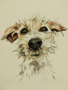 Aquarelle représentant un petit chien barbet de type fox terrier ou apparenté. Il est bien sympa, ce toutou! =:o}