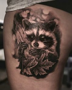 Angelique Grimm raccoon tattoo
