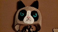 Grumpy Cat Crochet Hat Pattern Free : Adult Sized Grumpy Cat Crocheted Beanie Style Hat Cats ...