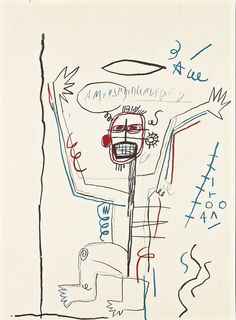 JEAN-MICHEL BASQUIAT UNTITLED signed on the reverse oilstick and colored pencil on paper  30 by 22 in. 76.2 by 55.8 cm. Executed in 1982.