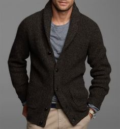 Chunky cardigan sweater - just as comfortable with a dress shirt as when paired with jeans and a tee. Cardigans, Men Clothing, Casual Attire, Guys Style, Men Style, Casual Winter, Men Fashion, Fall Sweaters, Style Guide