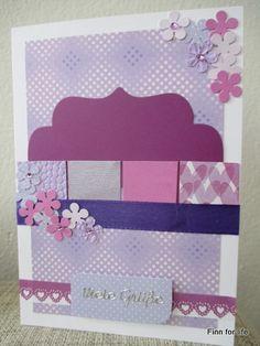 Handmade card with lila colour theme