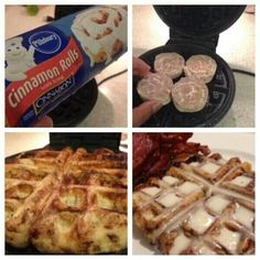 Quick Way To Making Cinnabon Rolls- I Think They Taste Much Better This Way! Waffle Iron Cinnamon Rolls, Cinnamon Bun Waffles, Apple Cinnamon, Breakfast Recipes, Dessert Recipes, Desserts, Breakfast Ideas, Mexican Breakfast, Pancake Recipes
