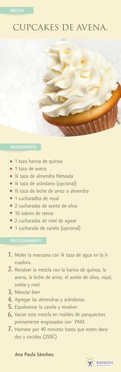 New Ideas For Cupcakes Recetas Mofins Cupcake Recipes, Cupcake Cakes, Dessert Recipes, Sweet Recipes, Vegan Recipes, Cooking Recipes, Healthy Desserts, Love Food, Food And Drink