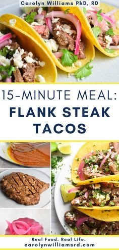 You can't really go wrong with tacos of ANY variety, but these steak tacos are one of my favs. They use flank steak which is a cut that requires little seasoning and cooks quick on the grill or in the oven (less than 15 minutes!). The secret to juicy, tender steak flank steak is letting the steak stand 10 minutes after cooking before slicing and then slicing against the grain. Fall Recipes, Real Food Recipes, Cooking Recipes, 15 Minute Meals, Quick Meals, Pickle Onions Recipe, Flank Steak Tacos, Tender Steak, Onion Recipes