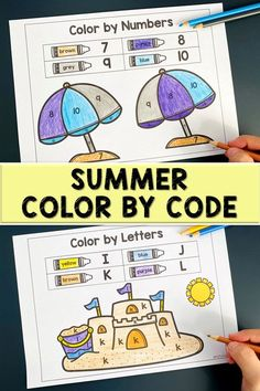 Your kids love coloring activity? This Summer Color by Code is perfect for you. Let them review their number with Color by Numbers and review their letters recognition with Color by Letters in this pack. Perfect for preschool and kindergarten kids. Color Activities, Learning Activities, Color By Numbers, Letter Recognition, Summer Colors, Lower Case Letters, Coloring Pages, Kindergarten, Preschool